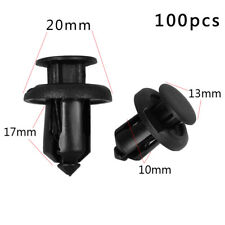 100 Pcs 10mm Clips Plastic Push Type Rivet Retainer Fastener for Honda Black Car