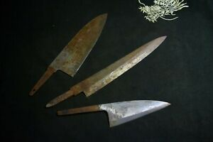 Japanese Kitchen / Chef knives *Blade only* 3 x Assort for refurb. Japan 2012