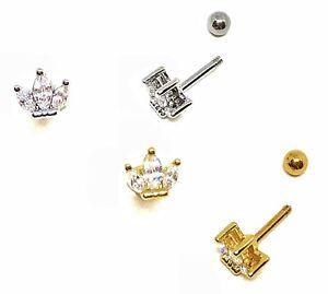 Crown CZ Cartilage Tragus Bar Helix Lip Bar Ear Stud  316L Stainless - Ball Ends