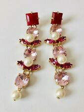 Sold Out! New$65 Pink Authentic J.Crew Crystal And Pearl Drop Earrings!