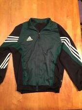 Adidas Track Jacket Black Green Stripes Zip Warm Up Full Zip Climalite Women's L
