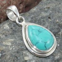 Turquoise Gemstone Solid 925 Sterling Silver Pendant Jewelry