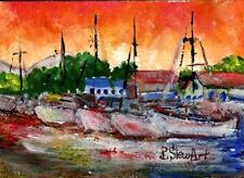 ACEO Marina Boats at Sunrise Sunset Seascape Landscape Painting Penny StewArt