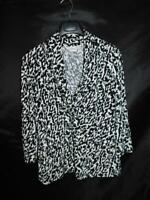 Chico's Size 2 L Black White Print Shirt Empire V Neck 3/4 Sleeve Stretch Knit L