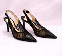 Nando Muzi 9147 Black Lace / Leather Slingback Pointy Pumps 36 / US 6