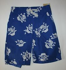 New Carter's Blue Cotton Monkey Pirate Print Shorts Size 6 Kid NWT Elastic Waist