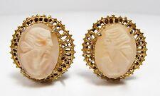 Vintage Gold Tone Genuine Cameo Clip On Filigree Setting Earrings Vtg 1950s