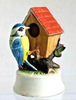Vintage Flambro Bisque Porcelain Blue Bird and Bird House Ceramic Music Box