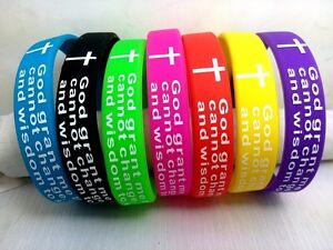 100Serenity Prayer Religious Wristbands Bracelets Jesus Cross Christian Jewelry
