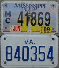 PAIR OF 2 MOTORCYCLE LICENSE PLATES/TAGS AUTHENTIC METAL MISSISSIPPI & VIRGINIA