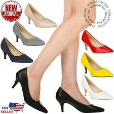 NEW Women's Classic Pointed Toe Pumps Comfortable Low Stiletto Heel Pump Shoes