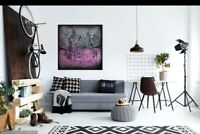 """ORIGINAL Art Colorfield Painting 30"""" Abstract Decor TEXTURE PINK Contemporary"""