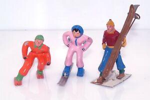 3pc Vtg Barclay Skier Skis Lead Metal Figure Lot