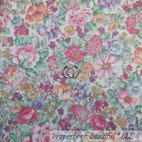 BonEful FABRIC FQ Cotton Quilt VTG White Pink Purple Yellow Blue Flower Cottage