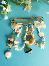 "221# Charming Brooch Fantasy ""shells"" pearl stone lace shabby chic"