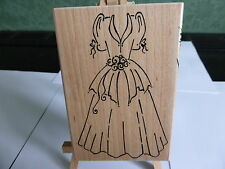 WOODEN RUBBER STAMP LOVELY WEDDING DRESS  IDEAL FOR CARD MAKING