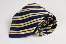 LUXURY STEFANO RICCI WOVEN SILK NECKTIE BLUE YELLOW RED STRIPES MADE IN ITALY
