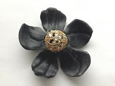 ALEXIS BITTAR Handcrafted Black Lucite Flower w/ Domed Crystal Center Pin Brooch