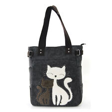 NEW BLACK CANVAS,WHITE+GRAY FAUX FUR KITTY CAT WITH STUDS BUTTON HAND BAG,TOTE