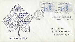 1955 Canada FDC, #353, 5c Whooping Crane