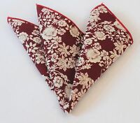 Hankie Pocket Square Cotton Handkerchief Wine Red Floral CH078