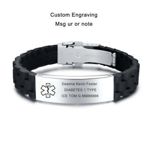 Mosic Silicone Wristband Medical Alert ID Men Women Kids Bracelet Personalized