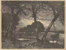 A3249 Alcobaca - Fiume Alcoa - Stampa Antica del 1887 - Incisione