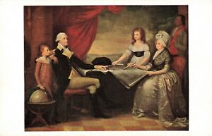 Portrait Washington Family Mount Vernon Va. Postcard 2T6-532
