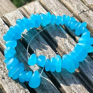 """1 Strand Cultured Sea Glass Pebble Beads 6-9mm Drilled - Turquoise Bay 8"""" / 20cm"""