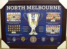 NORTH MELBOURNE HISTORIC PREMIERSHIP HISTORY PRINT FRAMED - AFL PREMIERS- MEDALS