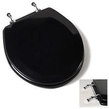 Deluxe Black Round Wood Toilet Seat, Adjustable Chrome Hinges