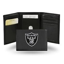 Oakland Raiders NFL Team Logo Embroidered Leather TRIFOLD Wallet