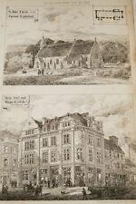ARCHITECTURE-ST JOHN'S CHURCH EGREMONT CARLISLE SHOP GRAVURE PRINT 1878  MD293