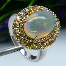 NATURAL 10 X 14 mm. WHITE RAINBOW OPAL & YELLOW SAPPHIRE RING 925 SILVER