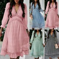 ❤️Women V-neck Floral Swing Midi Dress Ladies Summer Ruffle Long Sleeve Sundress