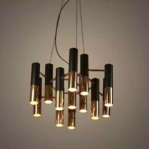NEW Modern Black Gold Tube LED Chandelier Ceiling Light Large  **2 AVAILABLE**