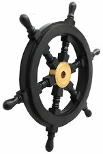 Wooden Ship Wheel Pirate Captain Brass Boat Steering Home Wall Decorative