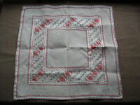 #723  Beautiful Vintage Hand Embroidered Linen Tablecloth 57cm/58cm(22''/22.5'')