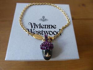 Brand New Vivienne Westwood Sherwood Acorn Tigers Eye Gold Bracelet