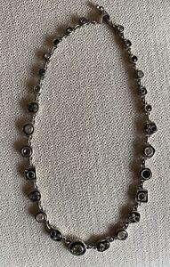 Patricia Locke Silver Plate Necklace Penny Arcade Black & White EUC