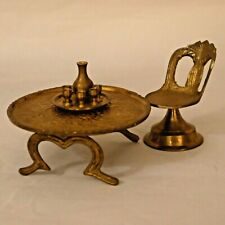 Dollhouse Miniature Brass Table Chair Wine Set Ornate Table India 1:12