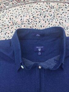 GANT - Dark Blue - White Micro Dot - Cotton - Button Cuff - Shirt - XL