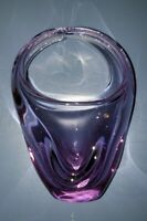 Murano Hand Blown Pulled Freeform Pink / Purple / Clear Art Glass Basket Vase