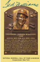 Ted Williams Autographed Gold Baseball HOF Plaque