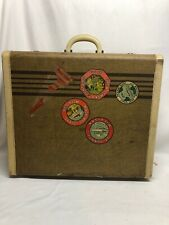 US Trunk Co Old Suitcase Luggage Michigan Labels Garment Hanger Vintage