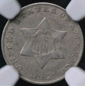 """""""TRIMEFECTA!"""" 1852 THREE CENT SILVER NGC VF 35 NICE AND ORIGINAL TYPE 1 PLEASING"""
