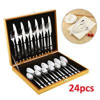 24pcs Luxury Stainless Steel Cutlery Set Knife Spoon Fork & Teaspoons Canteens