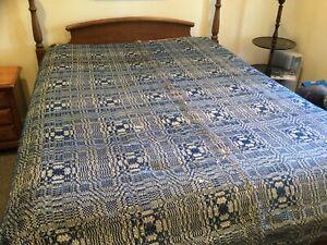 """Antique Jacquard Woven Coverlet-Indigo Blue & Cream-Center Seam-72"""" By 80"""""""