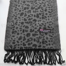 Women Men Unisex 100%CASHMERE Cheetah Leopard Animal Winter Gray Scarf Scotland