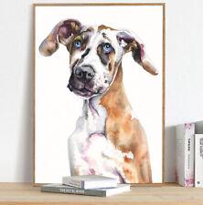 Great Dane Puppy Print,Watercolor,Harlequin,Great Dane,Dog Mom,Veterinarian Gift